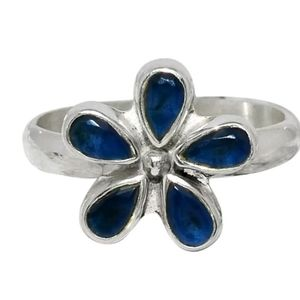 GENUINE SAPPHIRE SOLID .925 SILVER FLOWER RING